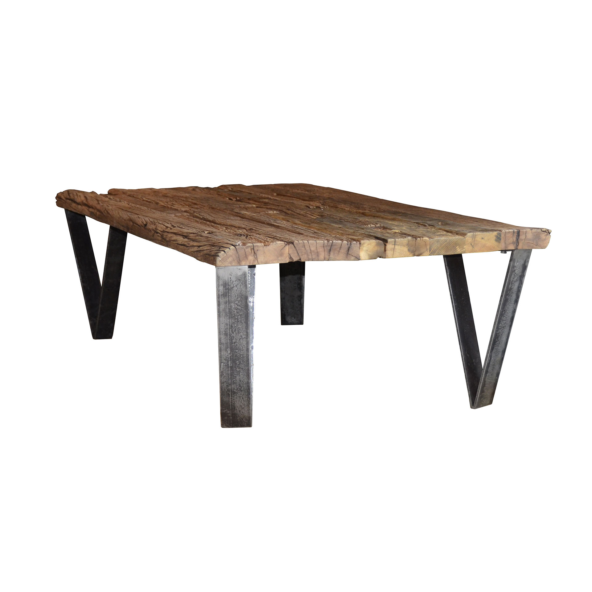 Pied Table Basse Metal.Table Basse Teck Recycle Pieds Metal 135x75cm Omsk