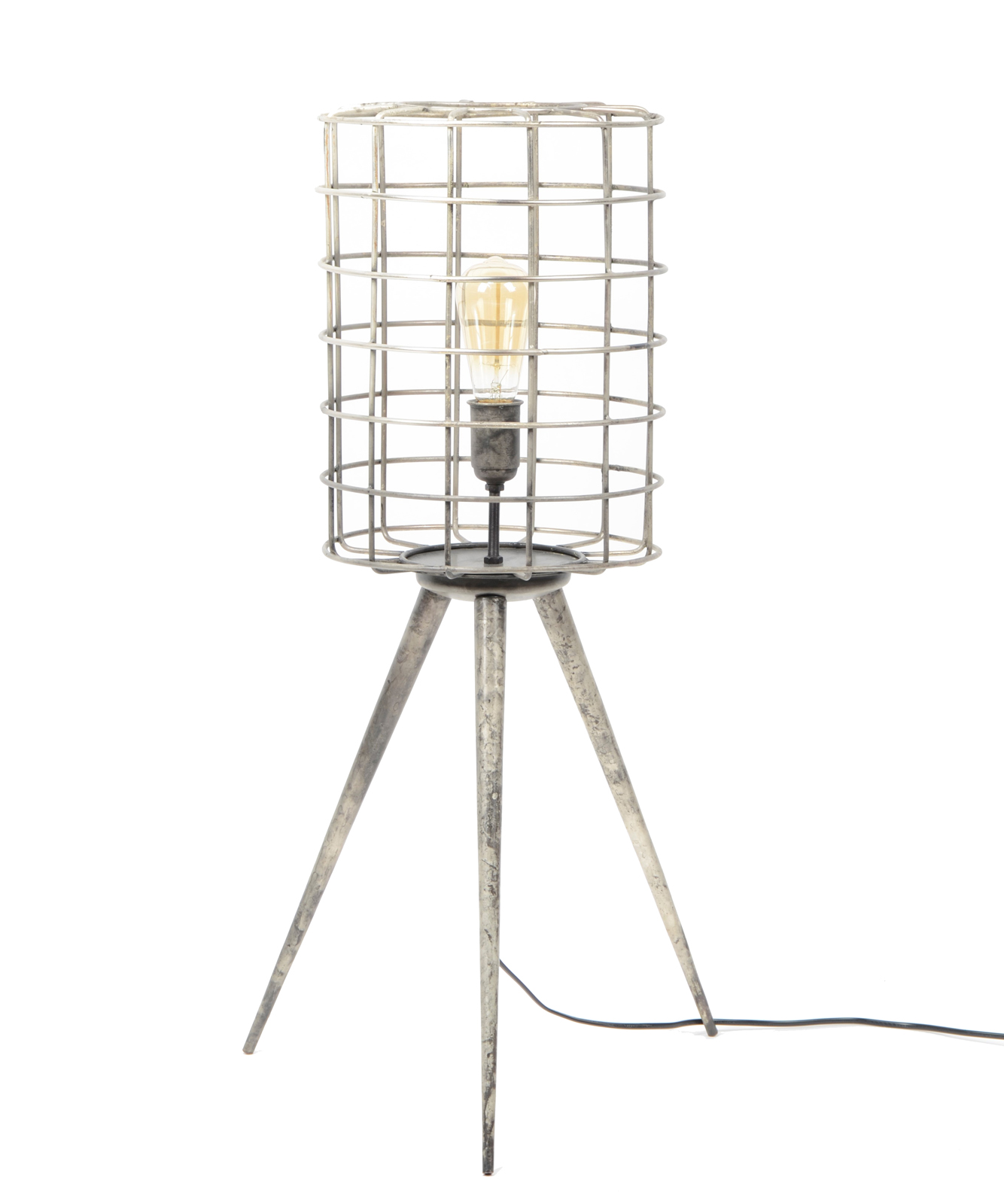 Lampe Trépied Métal Tribeca Abat Grillage 80cm Argenté Jour LMpUGVqSz