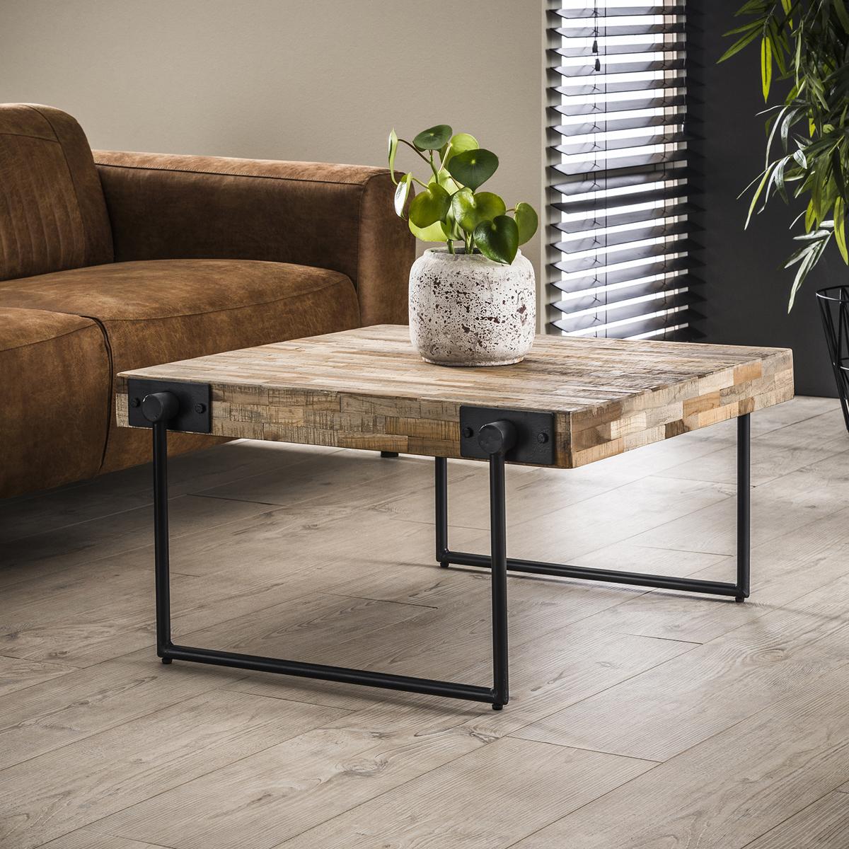 Table Basse Grand Salon table basse carrée teck métal grand modèle java