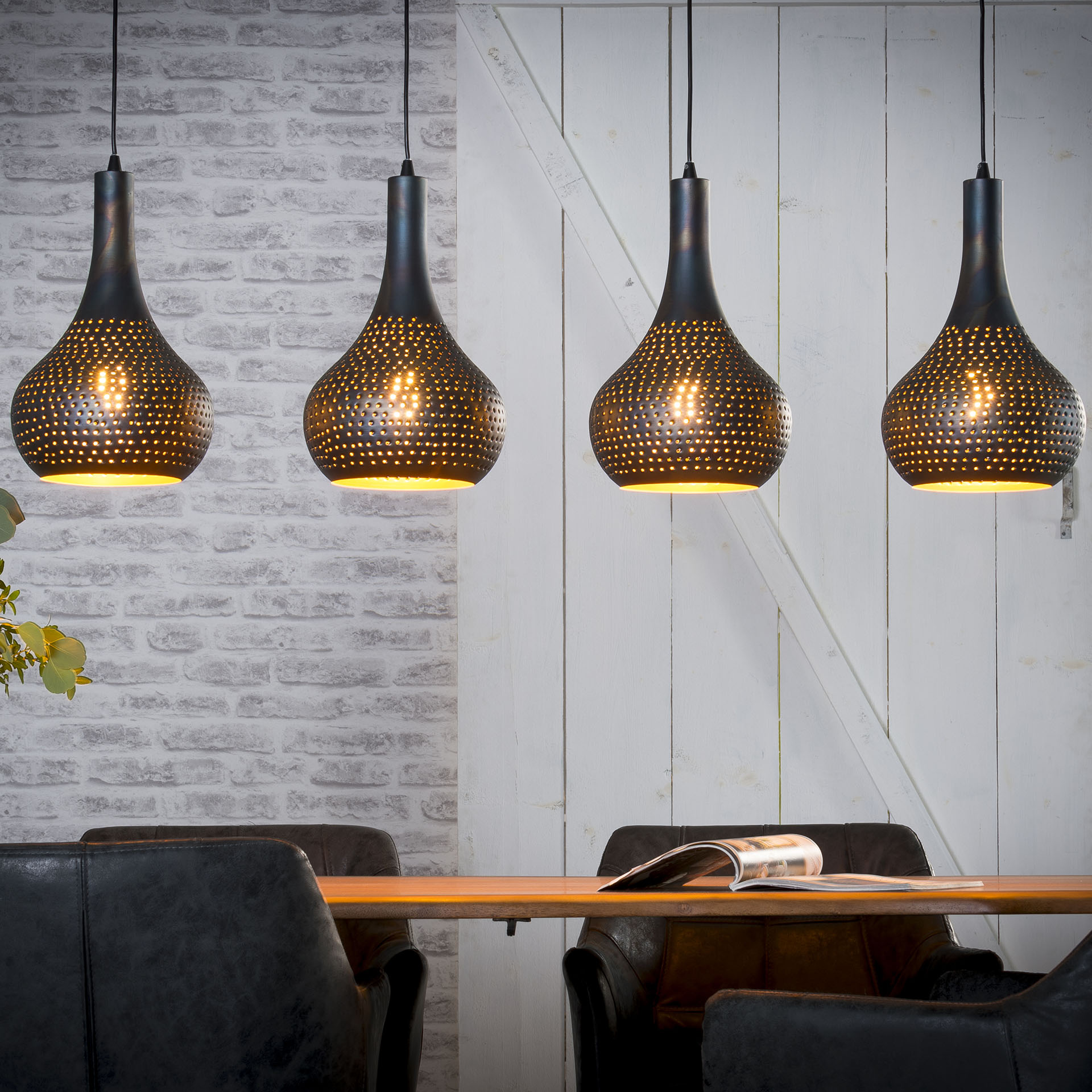 Suspension Lampes Java Ajouré Luminaire Métal Noir 4 130 Cm 80nOPwk