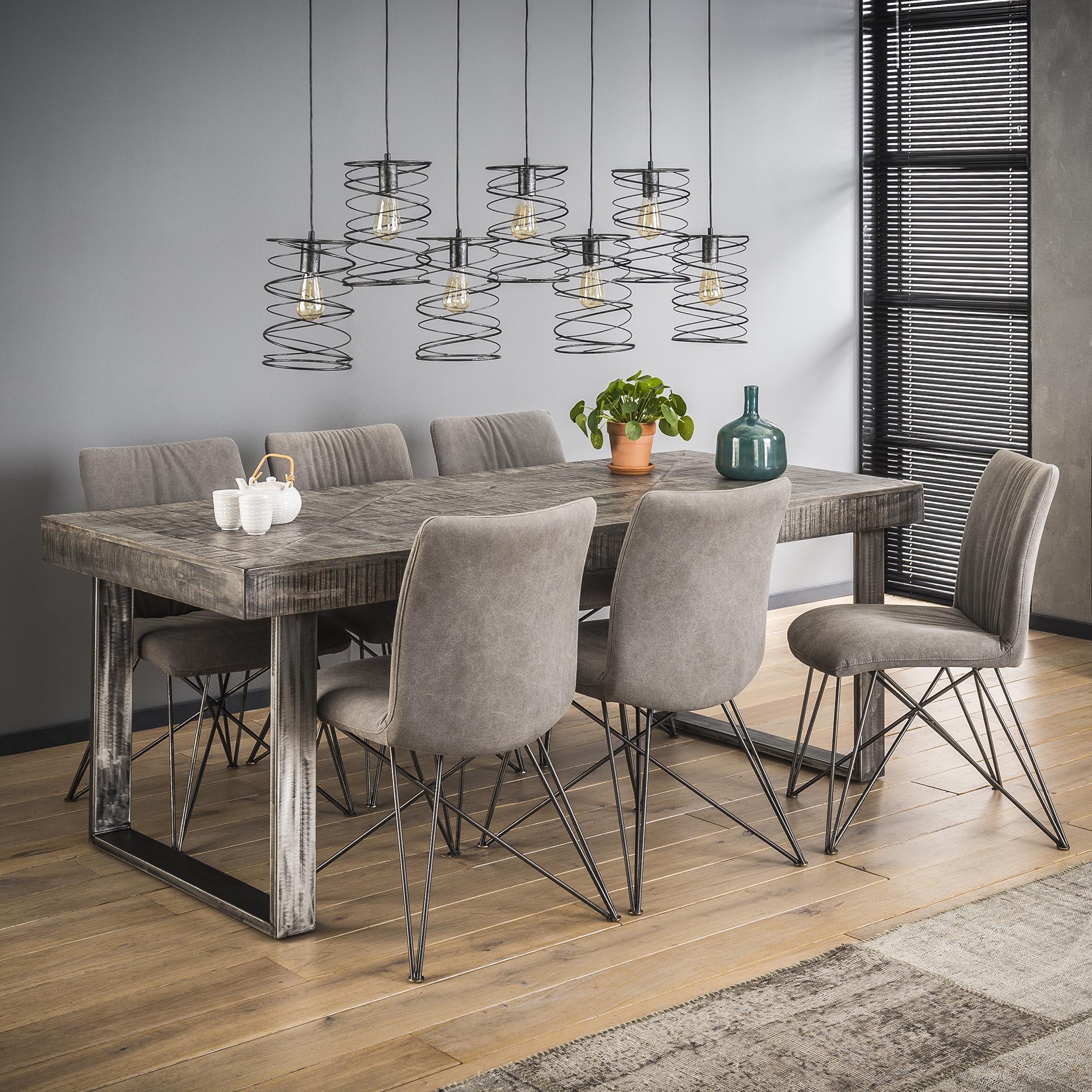 table a manger metal gris