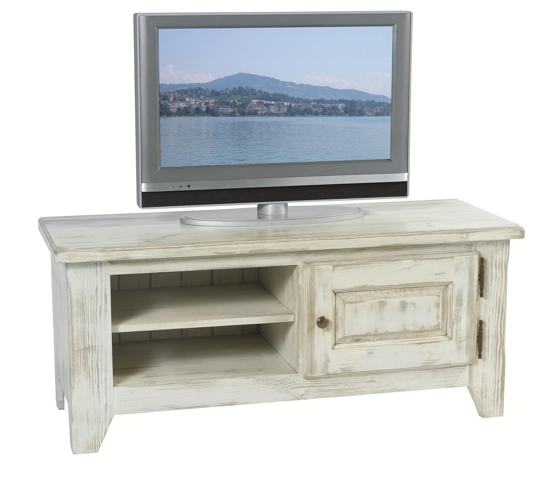 acheter populaire 76db5 1bbc3 Meuble TV pin cérusé blanchi 1 porte 2 niches 116x43x50cm RIVAGE