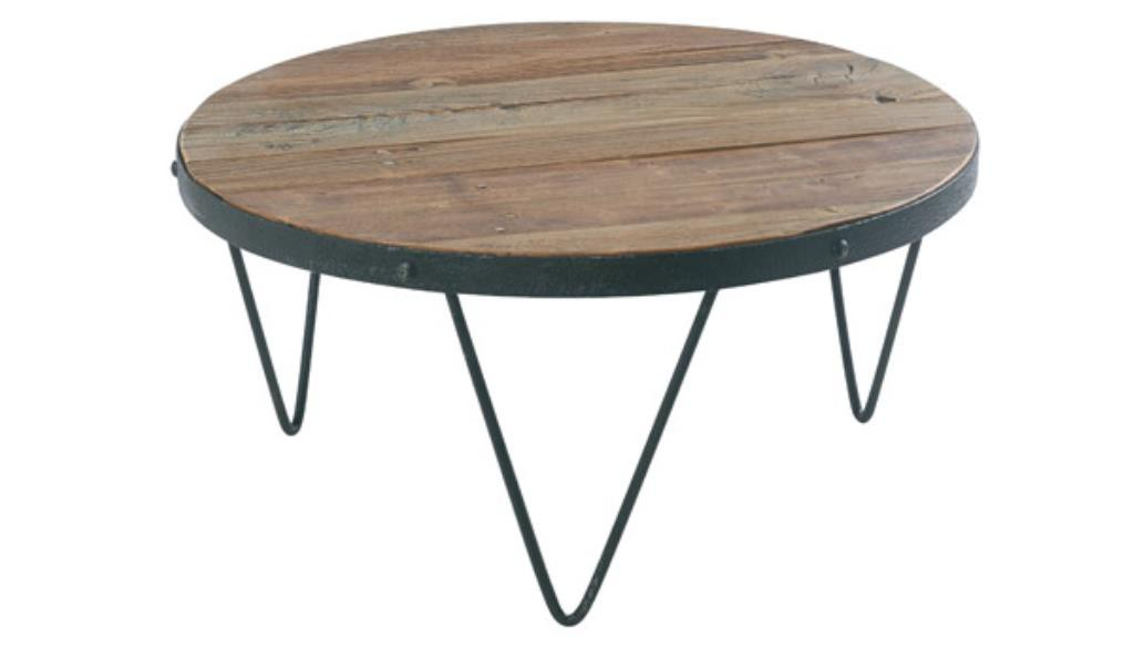 Table Basse Ronde Industrielle 80cm Orme Recycle Synergie