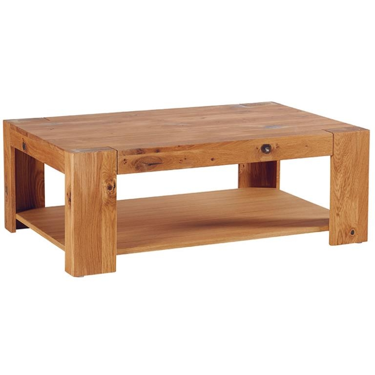 Table Basse Rectangulaire Double Plateau Chene Huile 110x70cm