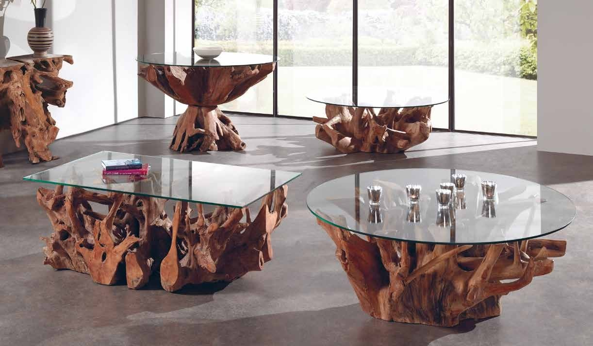Faire Une Table En Verre table basse verre et racine teck 120cm arizona