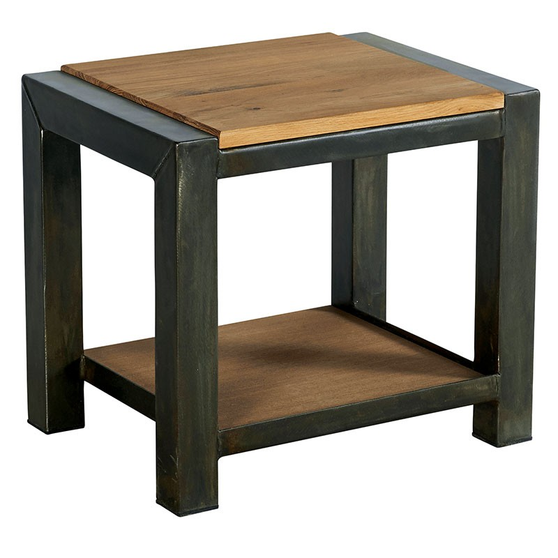 Table De Chevet Bois Et Metal.Table De Chevet Bois Metal Double Plateau Ferscott