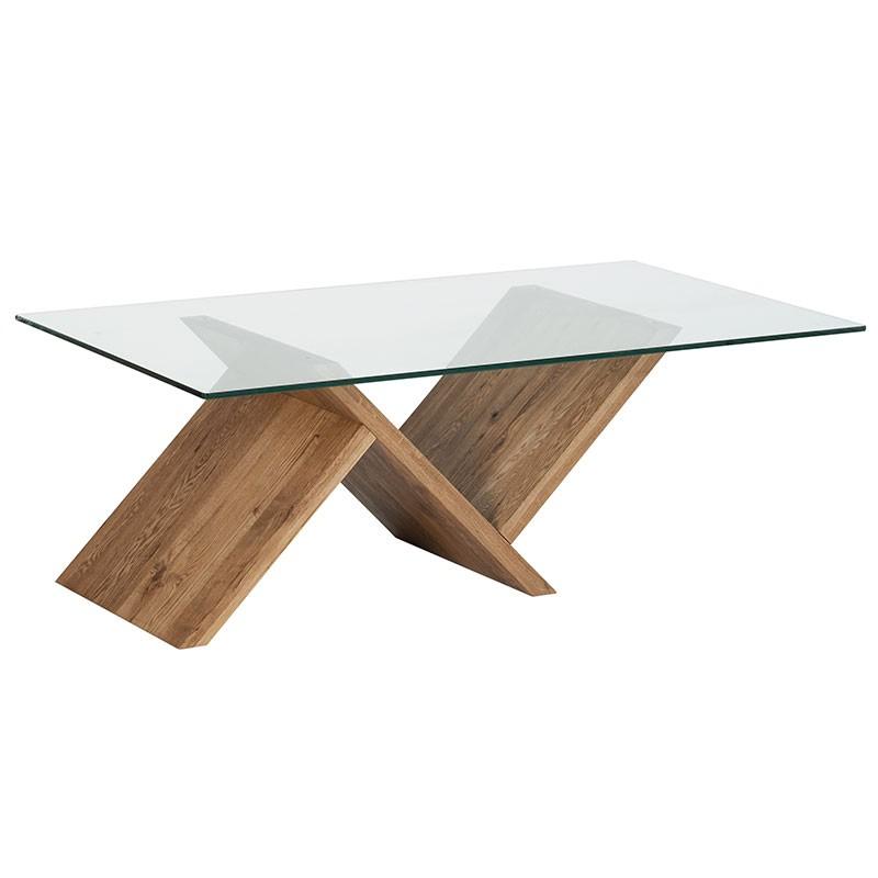 rencontrer 183c3 03019 Table basse chêne huilé et verre 120cm VALLEY
