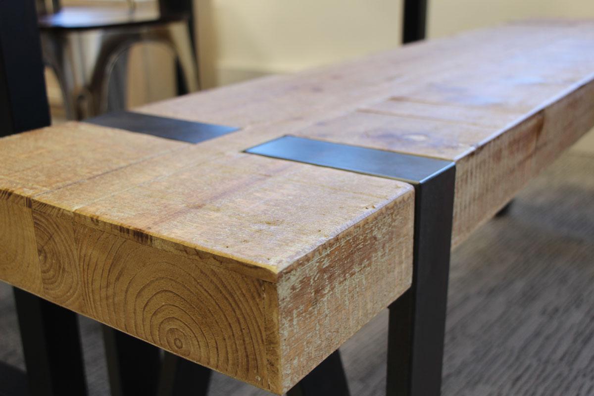 Table Haute Mange Debout En Sapin Massif Double Et Pieds Metal