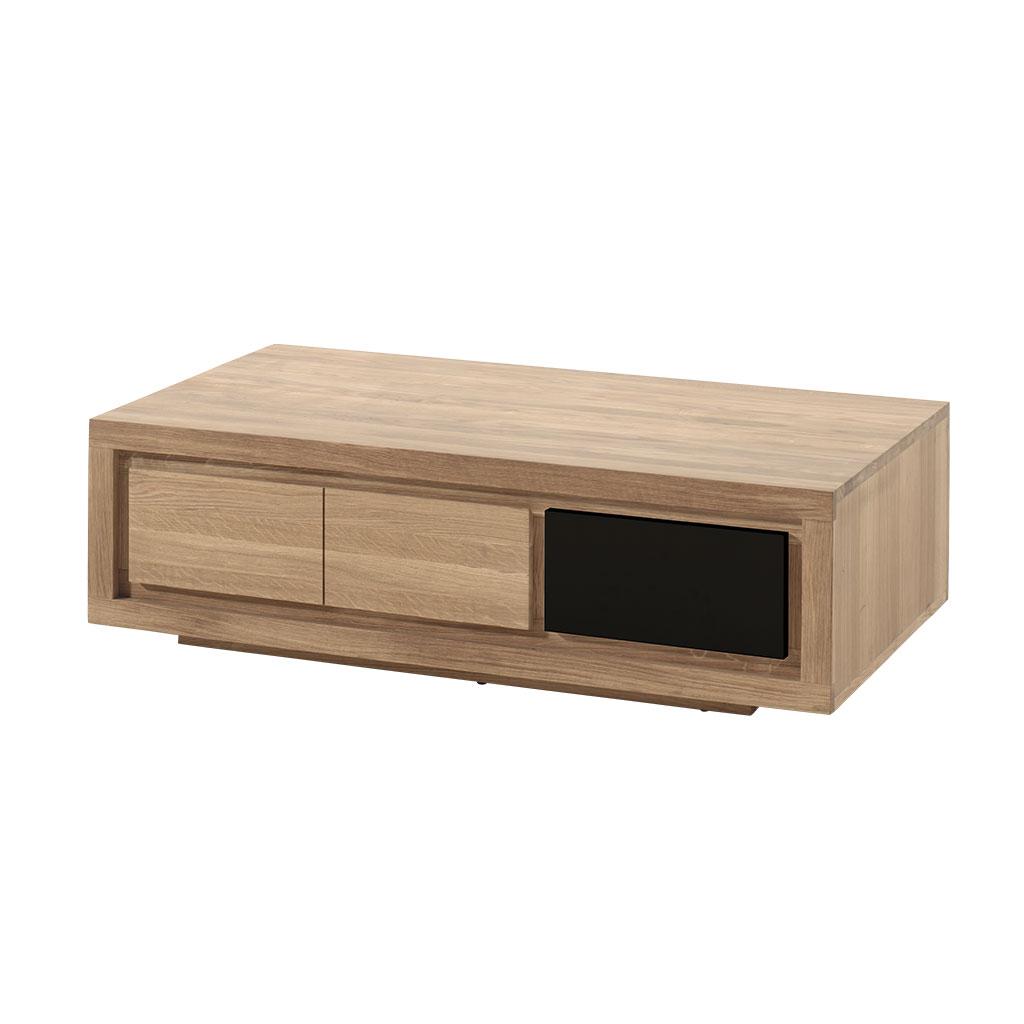 design de qualité 25c7e e99be Table basse bois bicolore naturel / laqué noir en Chêne massif 1 niche, 1  tiroir 110x65x32cm MALMOE2