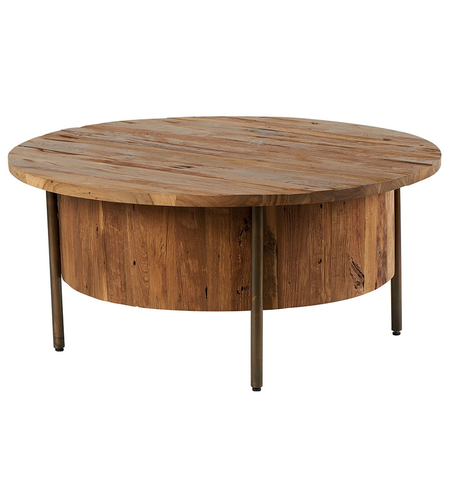 Table Basse Ronde Bois Massif Teck D100 Kanpur Tables Basses