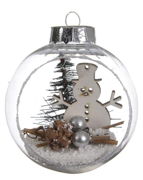 boule de no l transparente avec d cor bonhomme de neige d8cm d corations de no l pier import