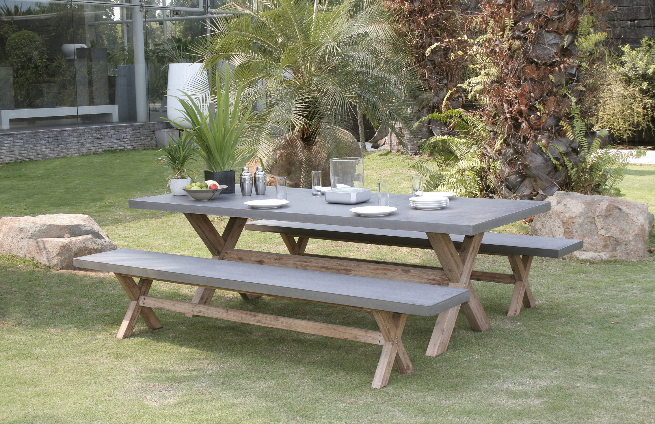 Salon de jardin Aspect Béton et piètement en Acacia Table ...