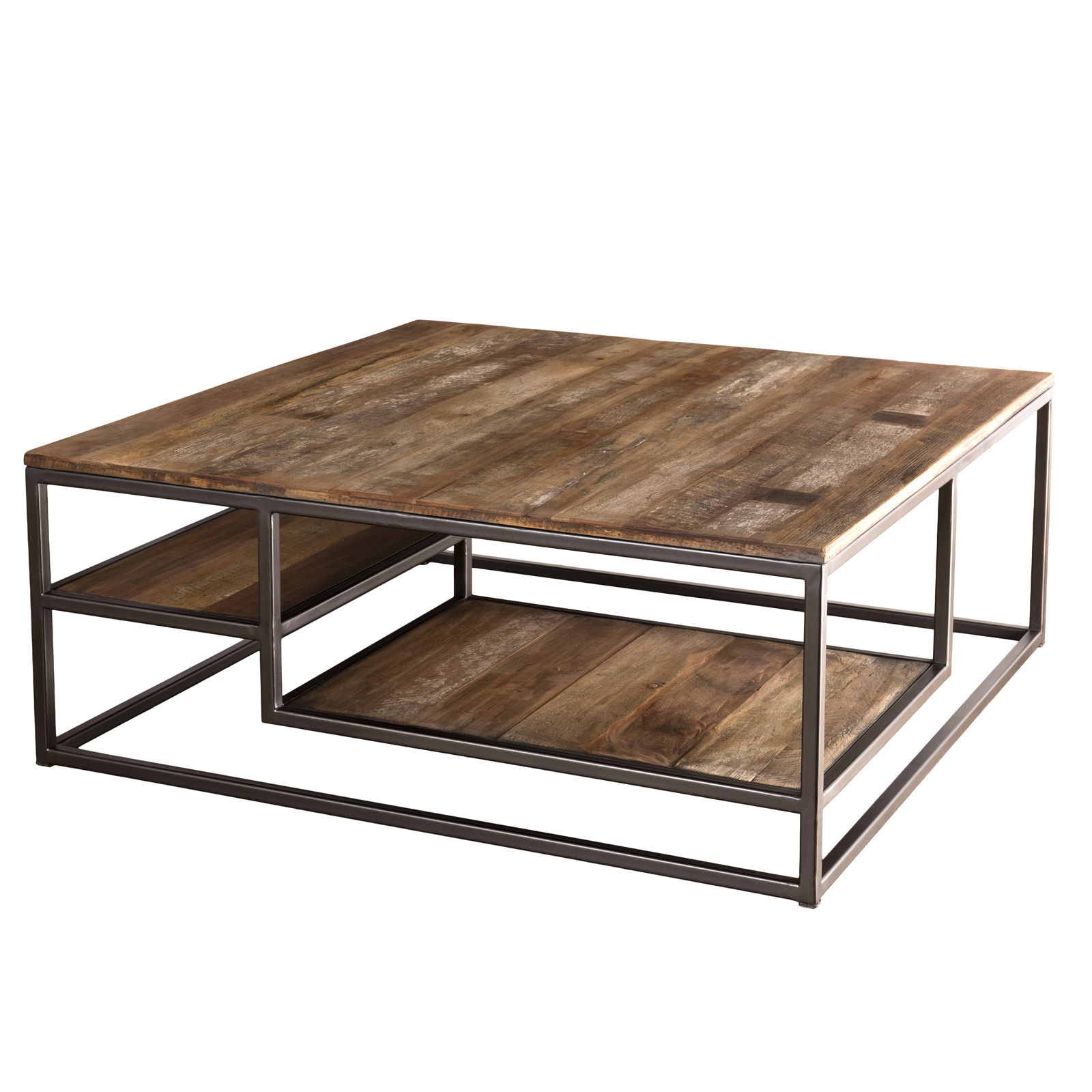 Table Basse Carree Teck Recycle Tablettes Swing Tables Basses