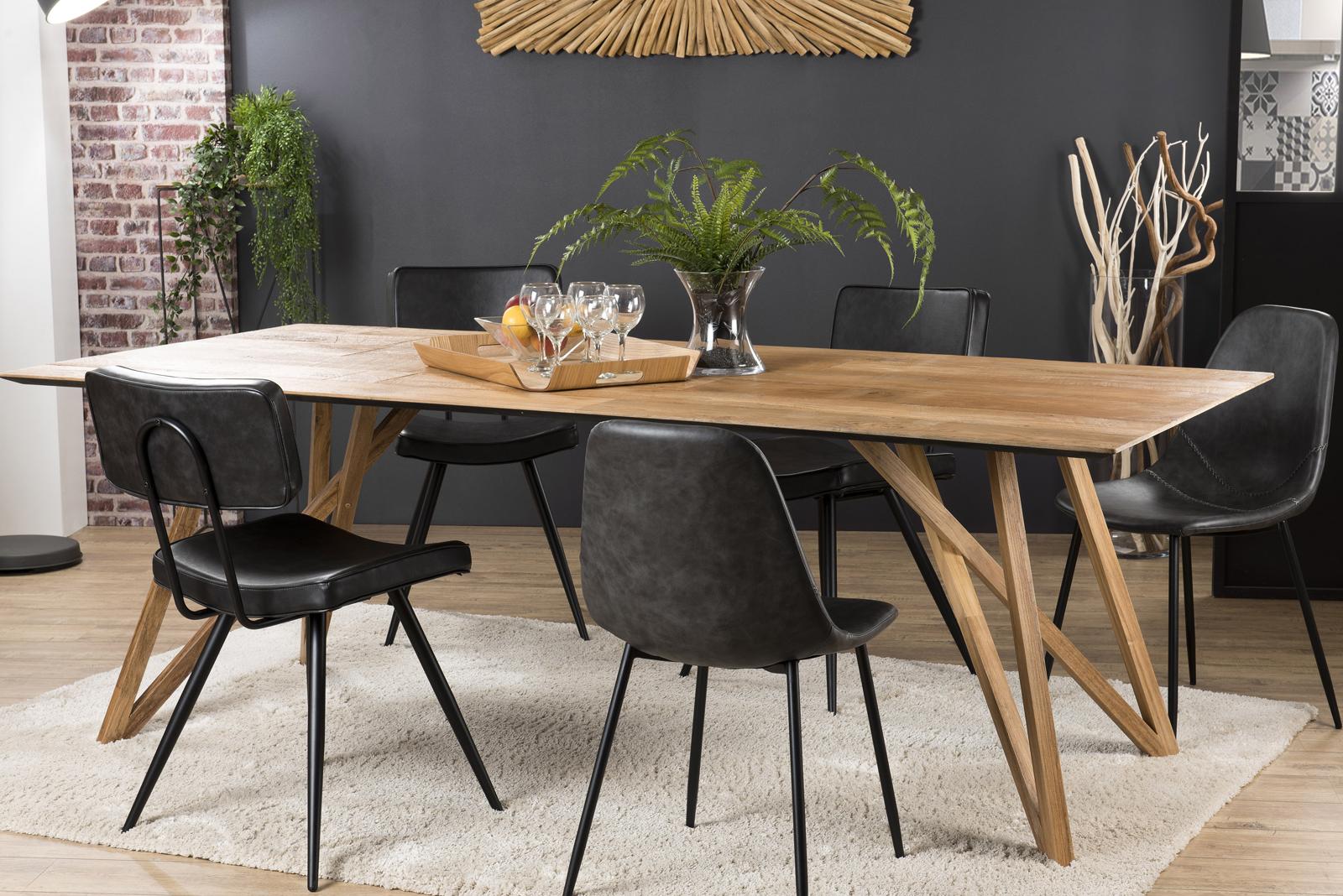 Table à manger teck recyclé pieds croisés 220x100 PANAMA