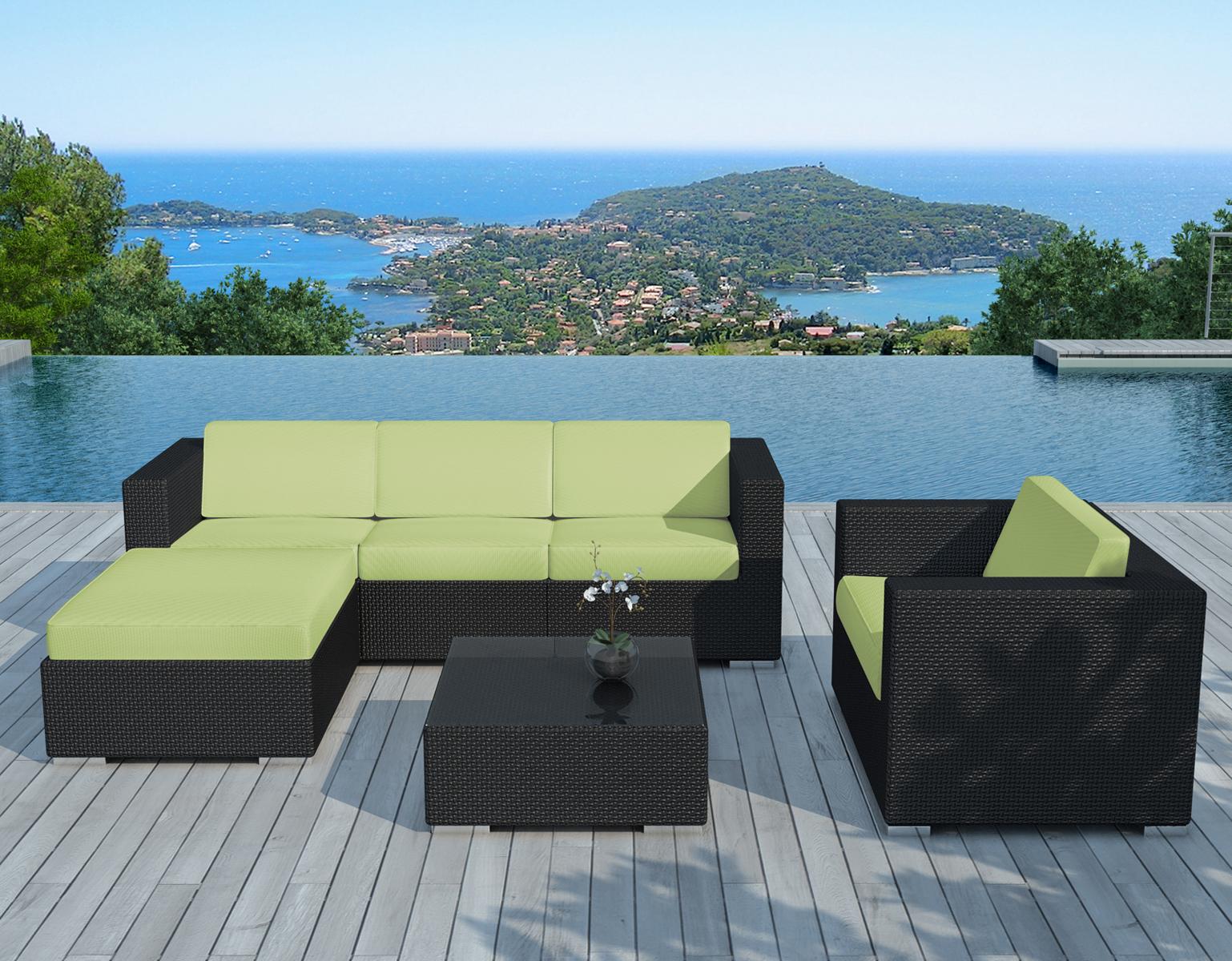 Salon de Jardin COPACABANA 6 pièces en résine noire et coussins tissu blanc  écru + un jeu de housse tissu vert