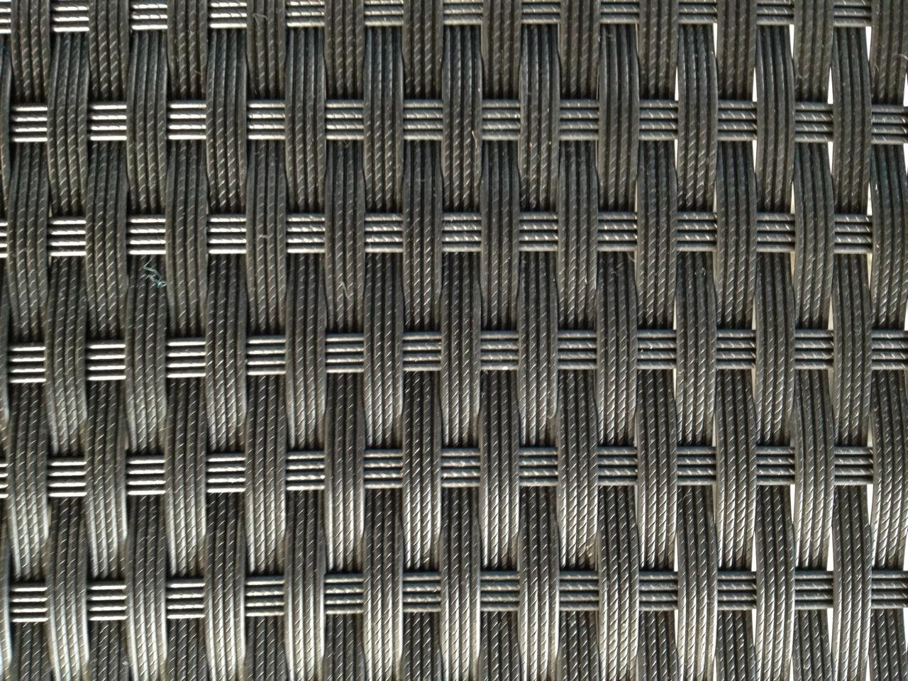 Salon de Jardin MENO 11 pièces en résine tressée noire et coussins tissu  blanc écru