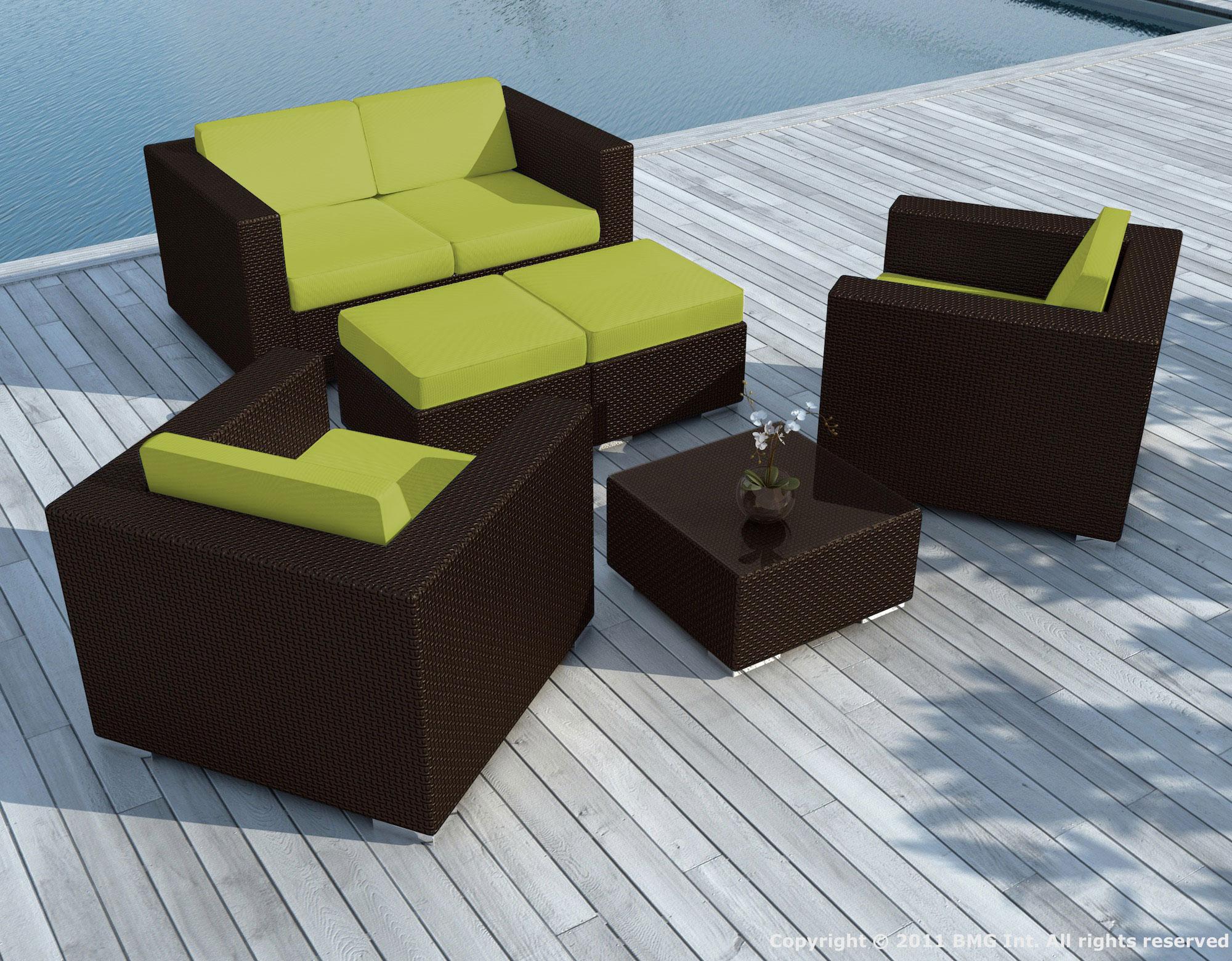 Salon de Jardin PAUSA 6 pièces en résine tressé couleur chocolat et  coussins tissu blanc écru + jeu de housses tissu vert