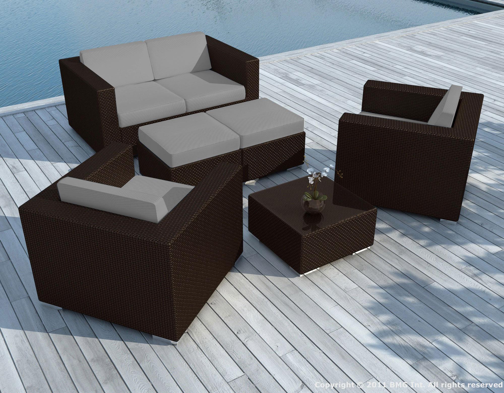 Salon de Jardin PAUSA 6 pièces en résine tressé couleur chocolat et  coussins tissu blanc écru + jeu de housses tissu gris