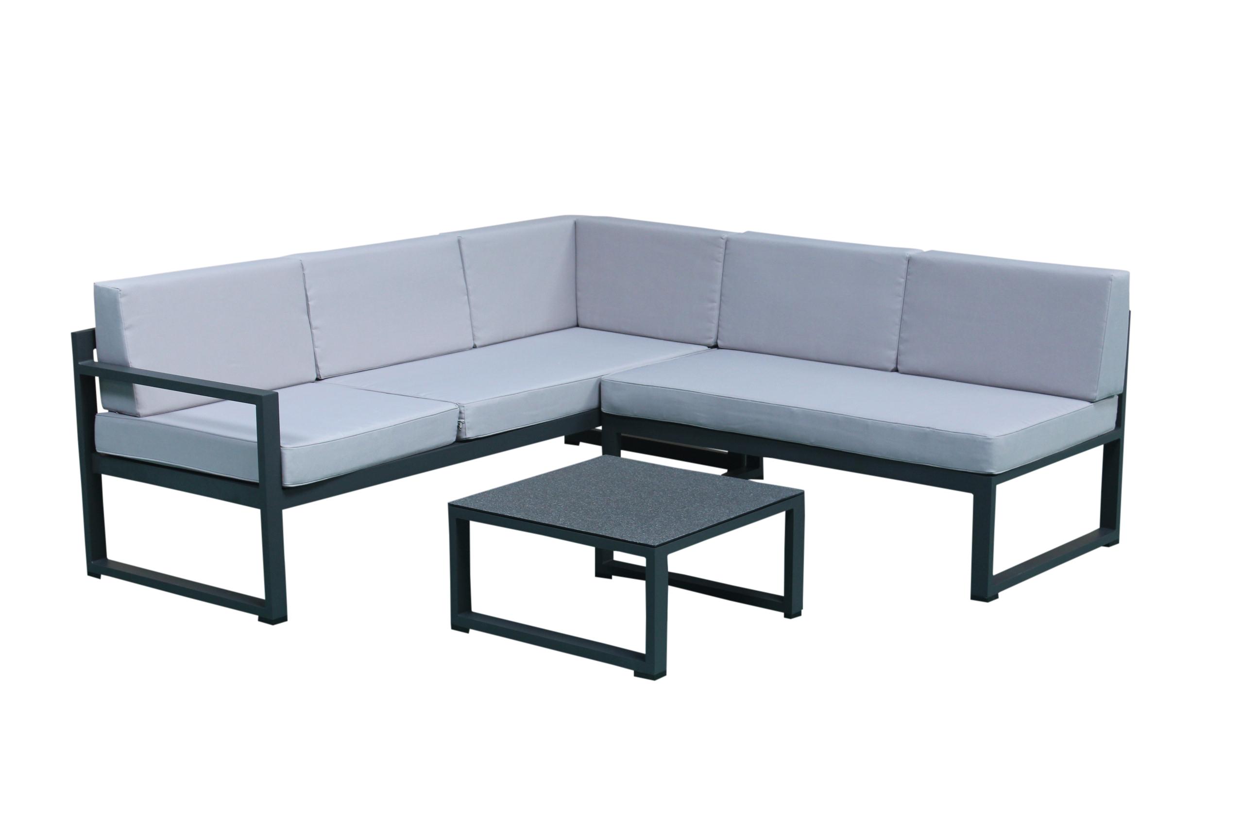 Salon de Jardin RELAX 3 pièces en aluminium gris anthracite et ...