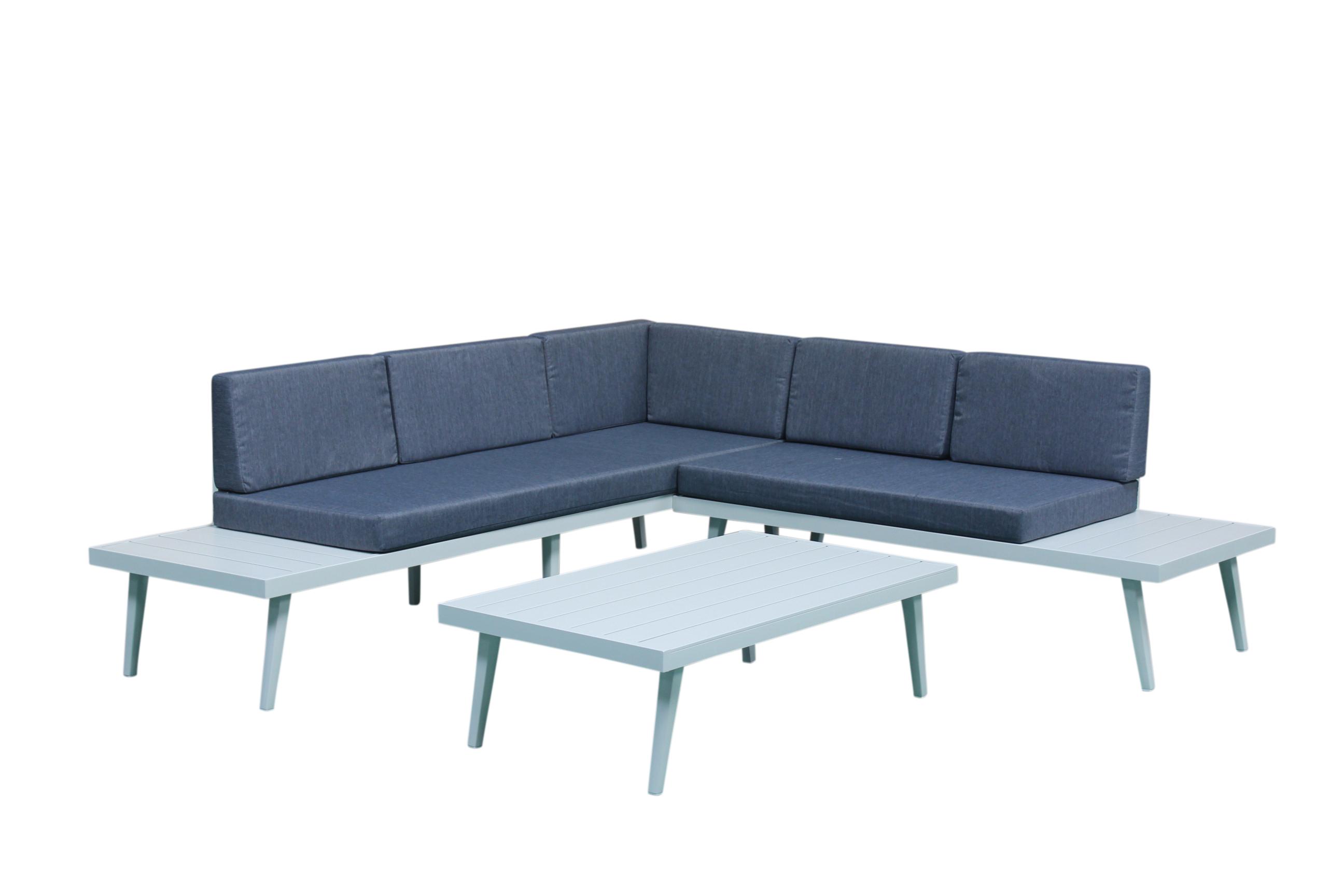 Salon de Jardin SMART 3 pièces en aluminium blanc gris et coussins tissu  couleur jean