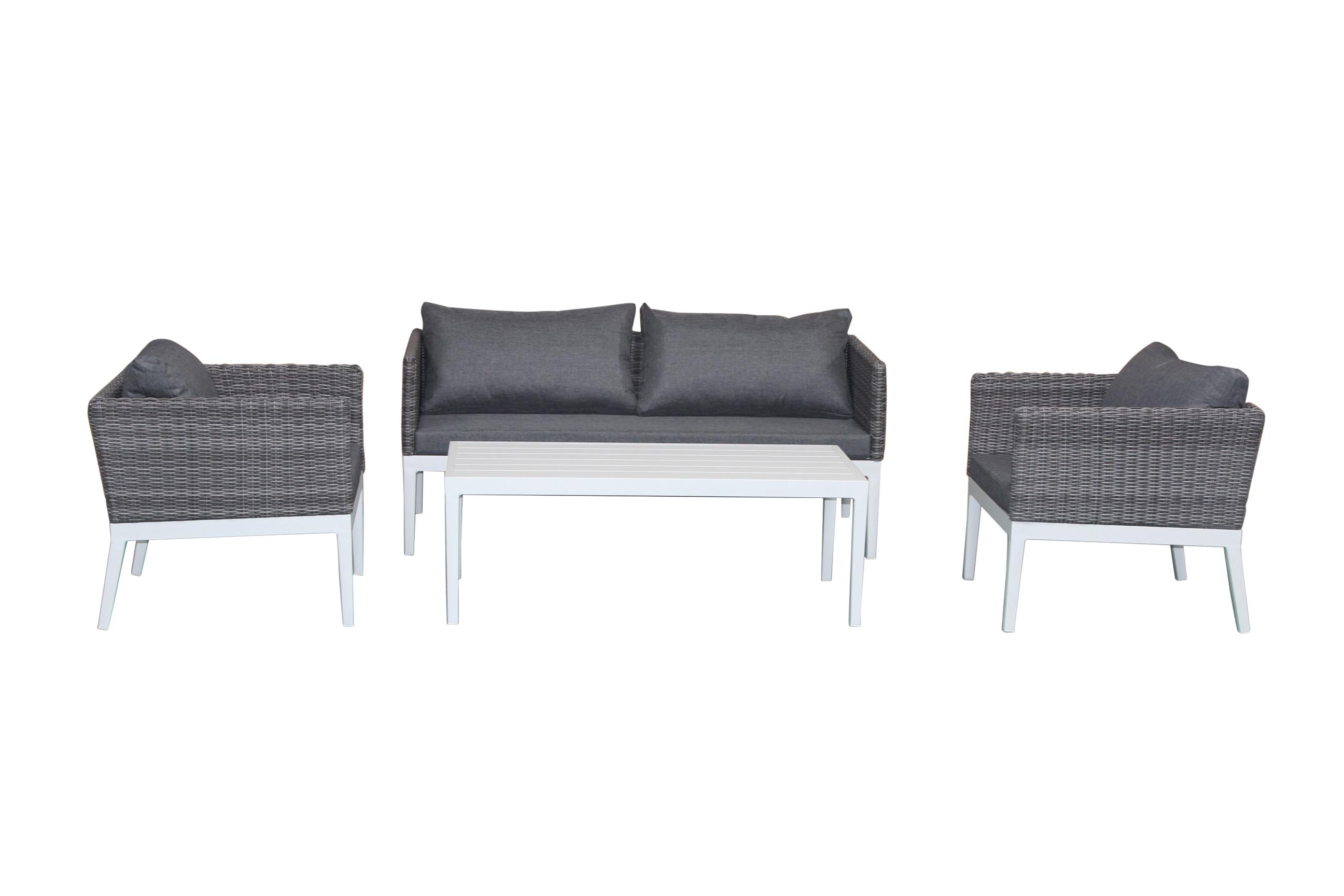 Salon de Jardin CAP-FERRET 4 pièces en aluminium blanc et résine tressée  grise et coussins tissu gris
