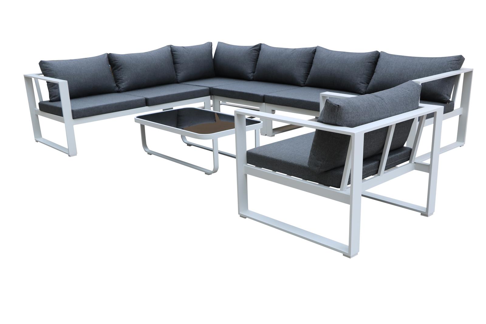 Salon de Jardin MIAMI 6 pièces en aluminium blanc gris et coussins ...