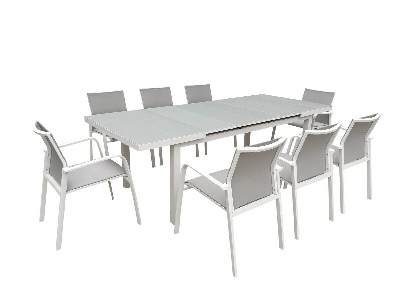 Table De Jardin Extensible Nice 180 240cm En Aluminium Blanc Gris