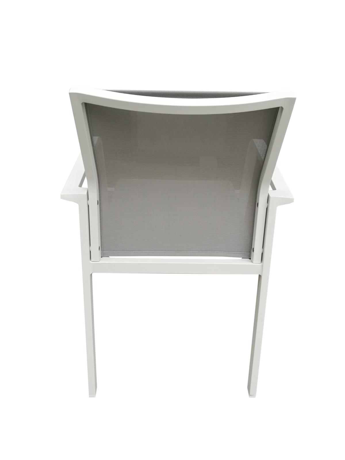 Fauteuil de Jardin NICE en aluminium blanc gris et textilène ...