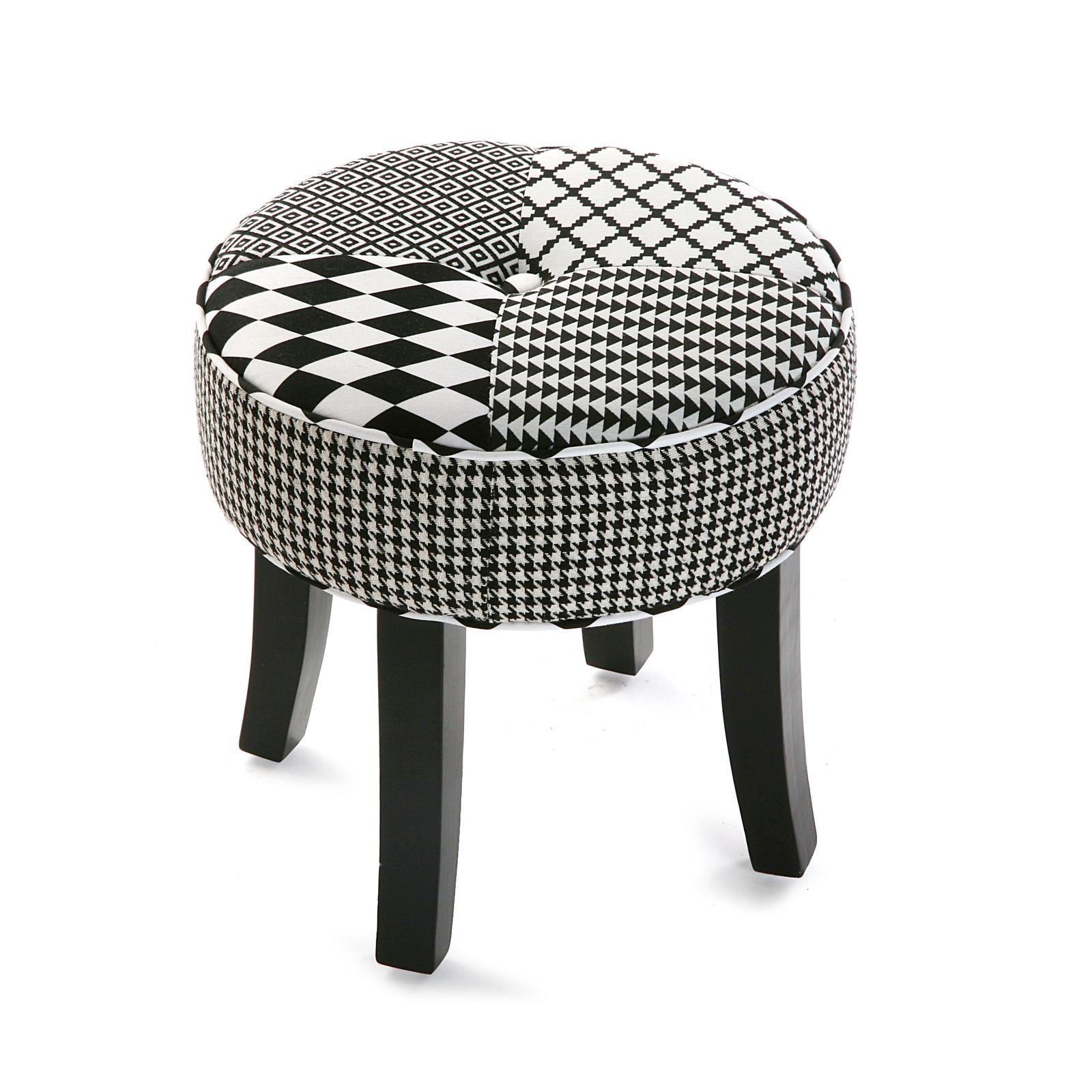 prix compétitif 64251 5cf1d Tabouret pouf rond en tissu Patchwork blanc et noir et pieds bois noirs  D35xH35cm URBAN