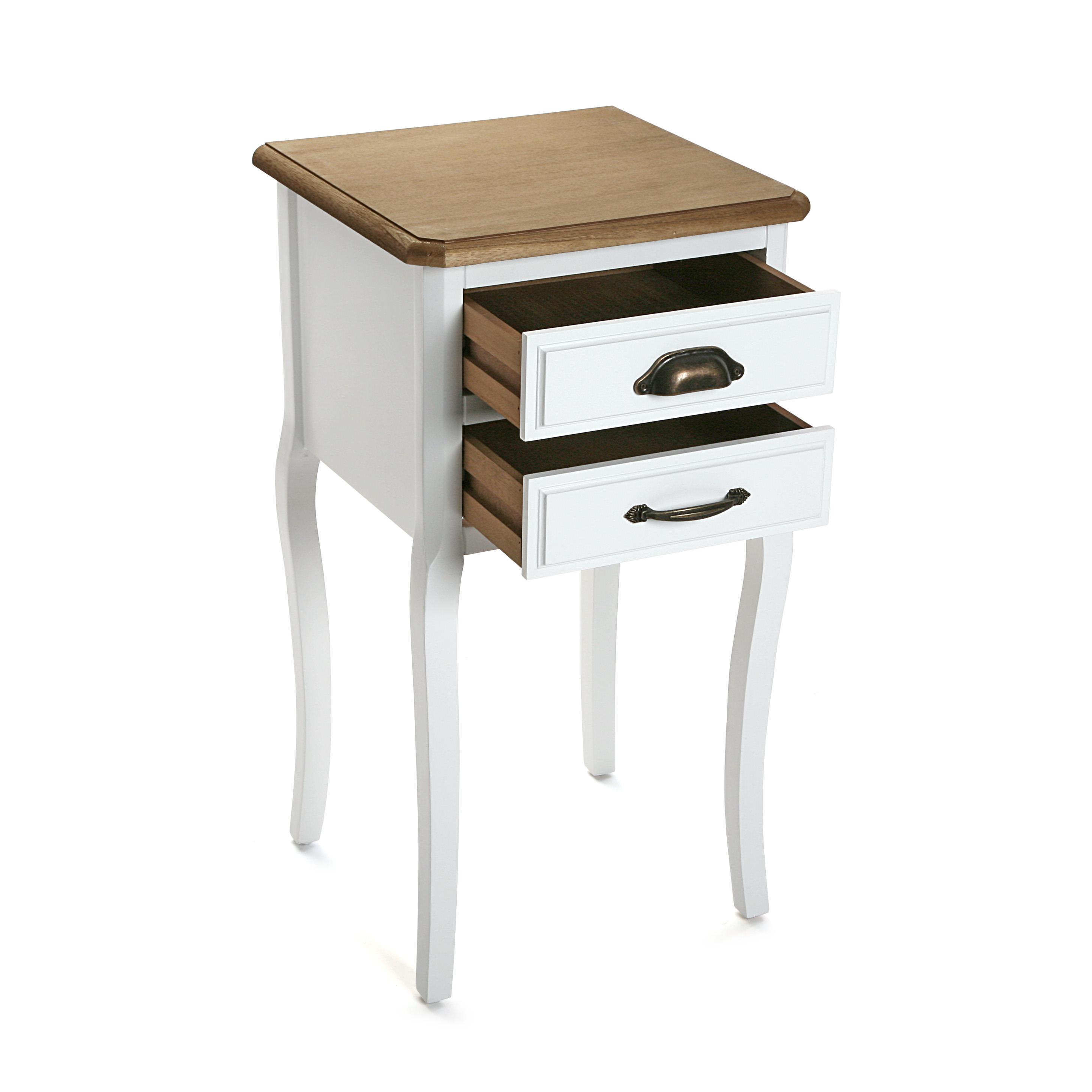 Table Blanche Pied Bois table de chevet romantique 2 tiroirs en bois blanc et plateau bois naturel,  aux poignées mixées, pieds galbés 37x35x69cm caline