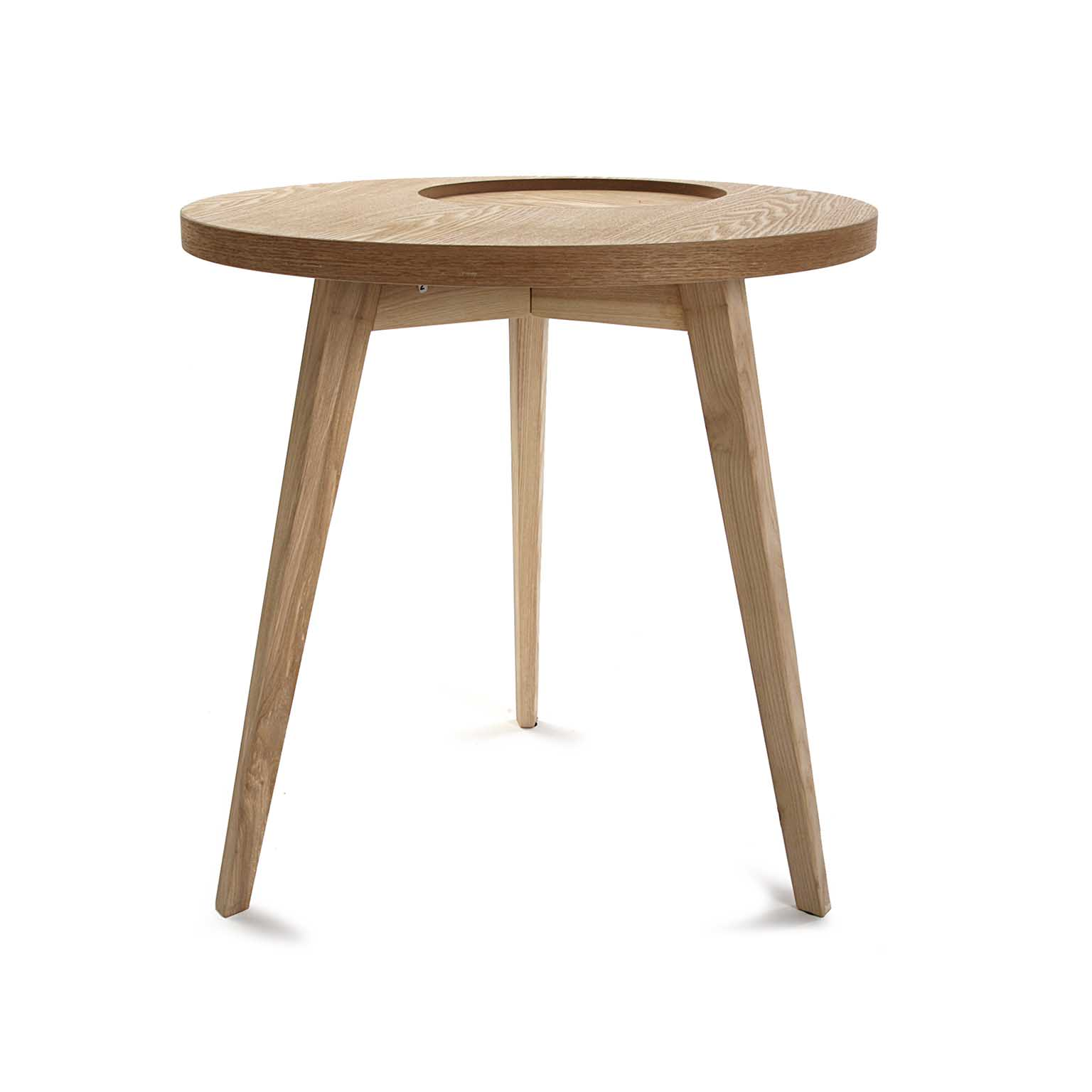 Table De Chevet Bout De Canapé Style Scandinave En Bois Clair évidé Forme Ronde D50xh50cm