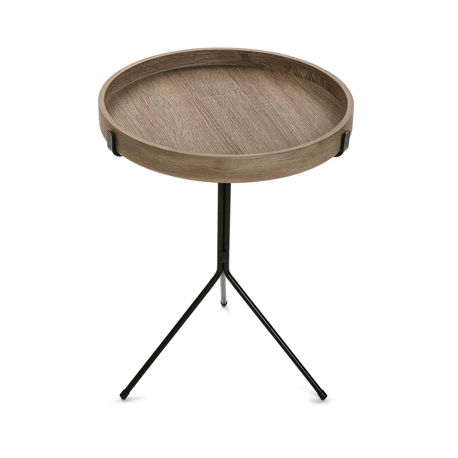 Bout De Canapé Table De Chevet Plateau Rond En Bois Et Pied