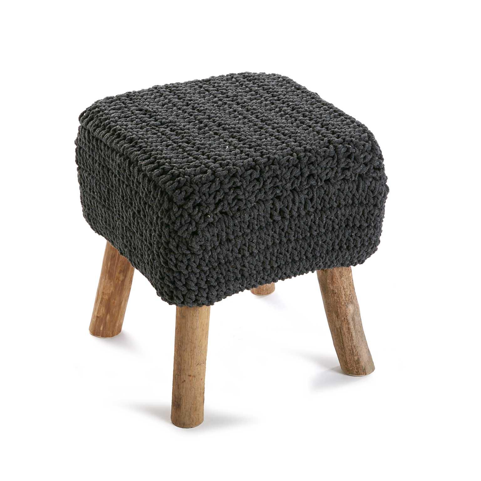 premier taux da013 77e64 Tabouret pouf carré assise en maille tissu gris et pieds bois 35xH40cm