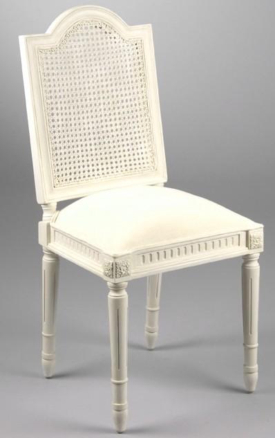 Chaise de chambre Louis XV cannée bois blanc et tissu ...