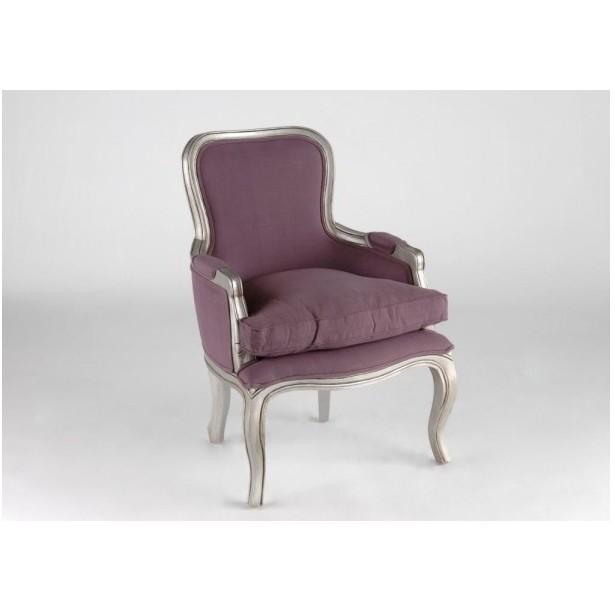 Fauteuil bergère baroque violet Acajou et tissu MURANO L64xP67xH90 ...