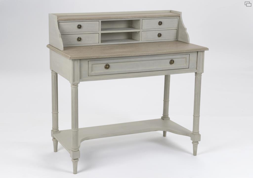 Secr taire bureau bois ancien gris clair 5 tiroirs edouard l 100 x p 50 x h 100 amadeus - Bureau bois ancien ...