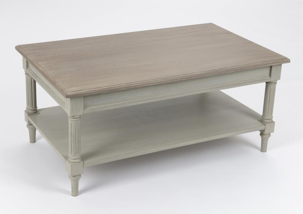 San Francisco 6c707 5eb93 Table basse rectangulaire cérusée grise Louis XVI 100 cm EDOUARD L 100 x P  60 x H 45 AMADEUS