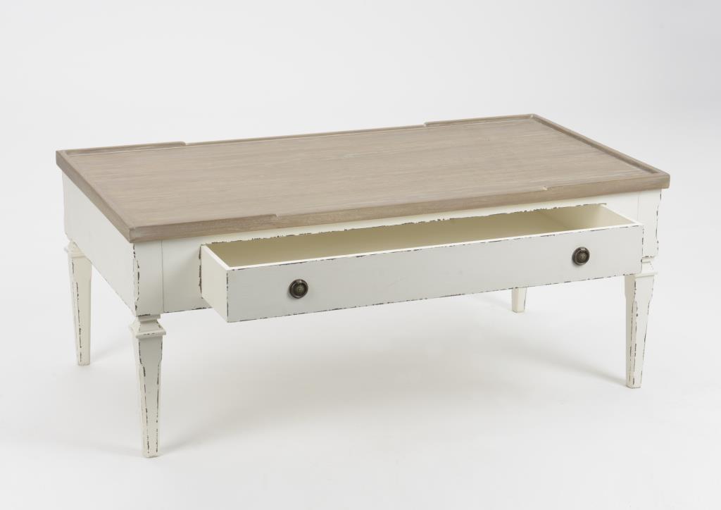 détaillant en ligne 15c73 617a3 Table basse salon bois blanc vieilli 1 tiroir 110 cm GUSTAVE L 110 x P 60 x  H 45 AMADEUS