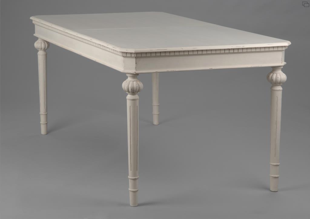 Table de repas extensible 160/200 cm bois vieilli blanc LEONIE L 200 ...