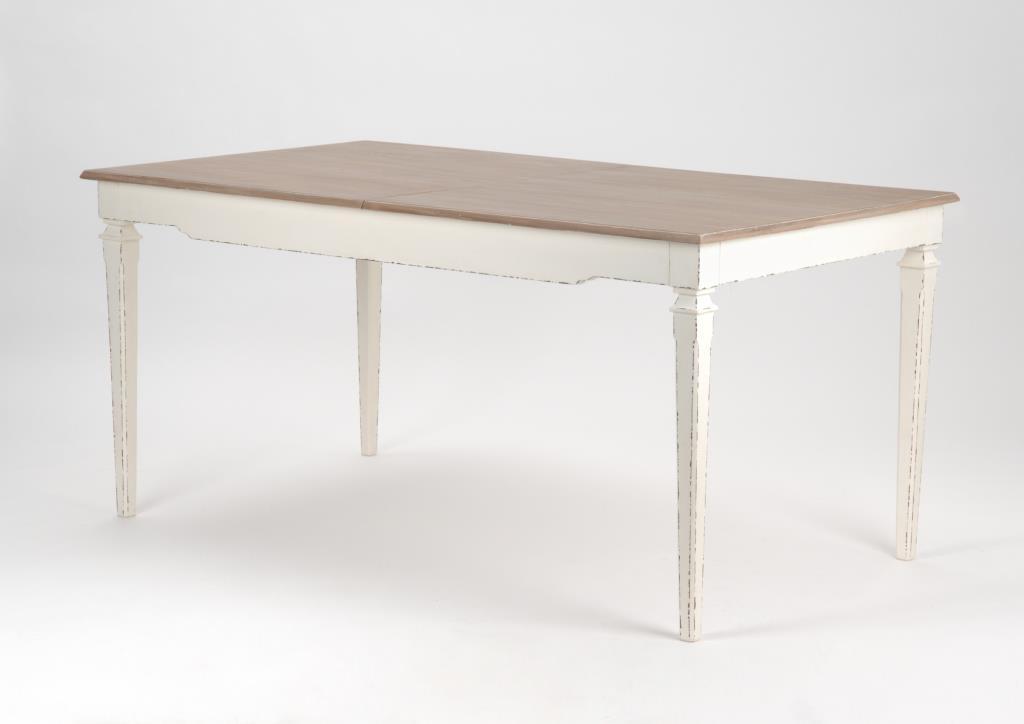 Table Rectangulaire Extensible 160 200 Cm Bois Vielli Blanc