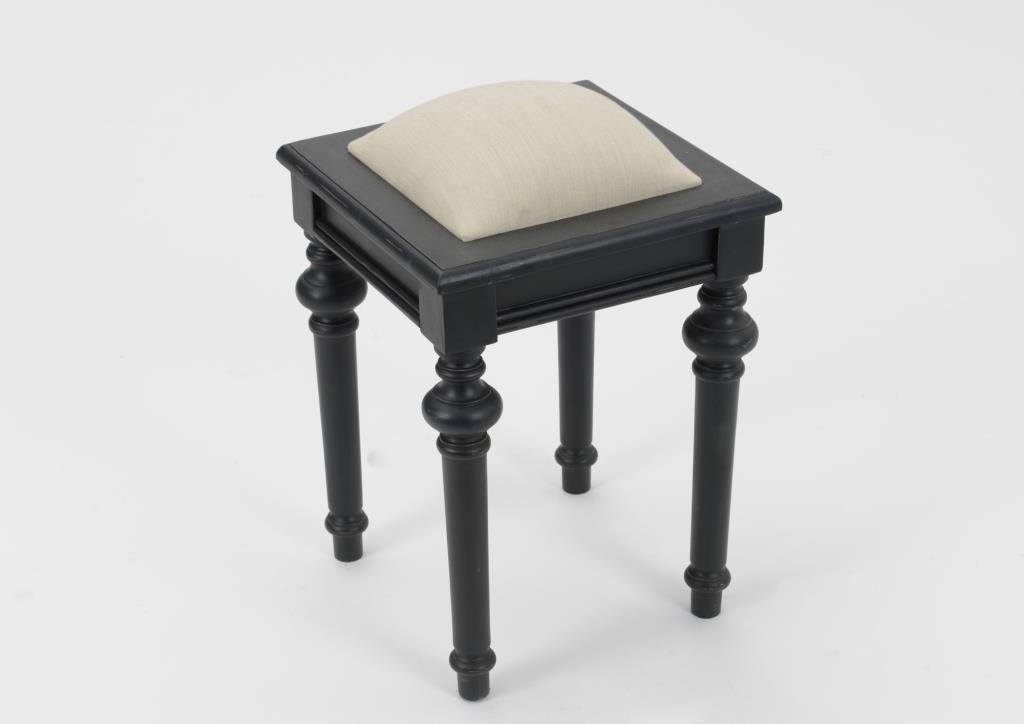 tabouret de coiffeuse baroque en bois noir et tissu beige