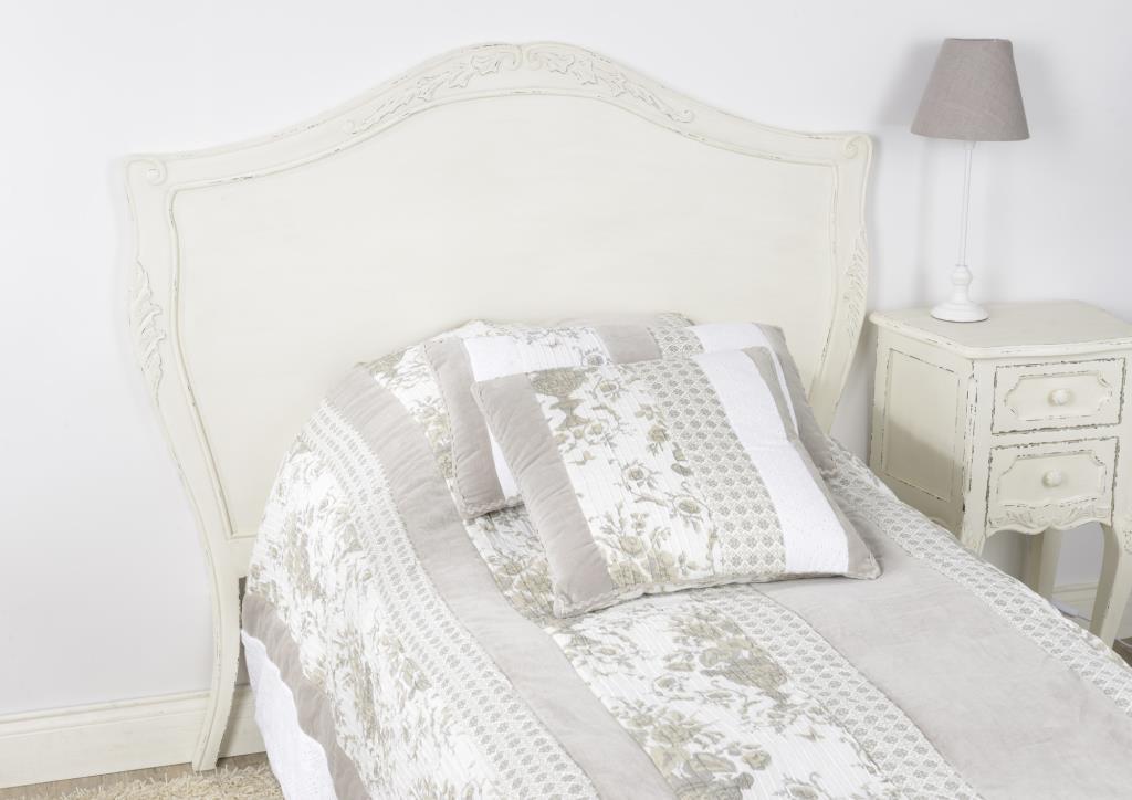 Tête de lit blanche 120 cm shabby romantique bois vieilli COMTESSE AMADEUS