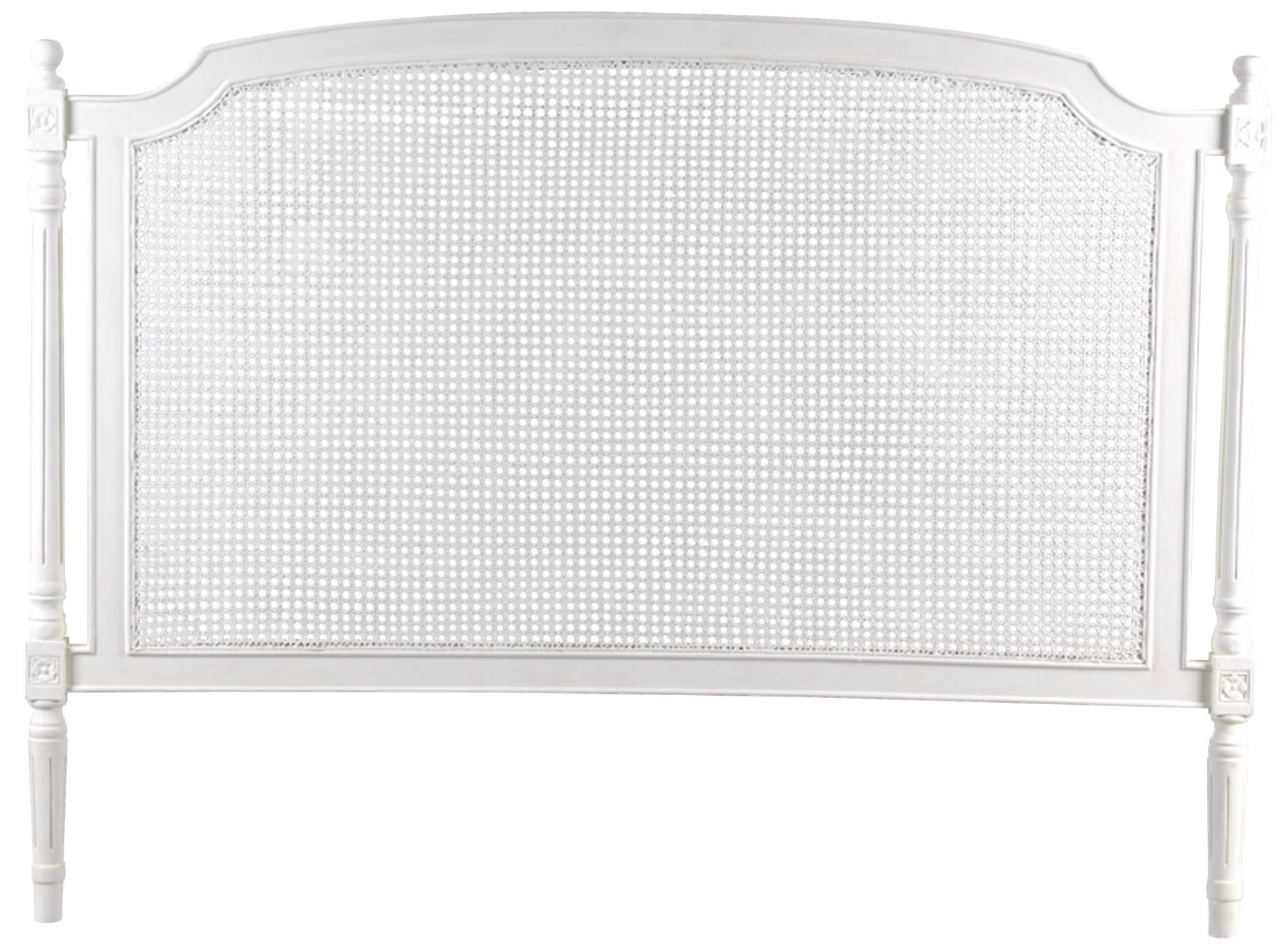 Tête de lit cannée 140 cm en Acajou blanc classique chic Helena L145 x H120  AMADEUS