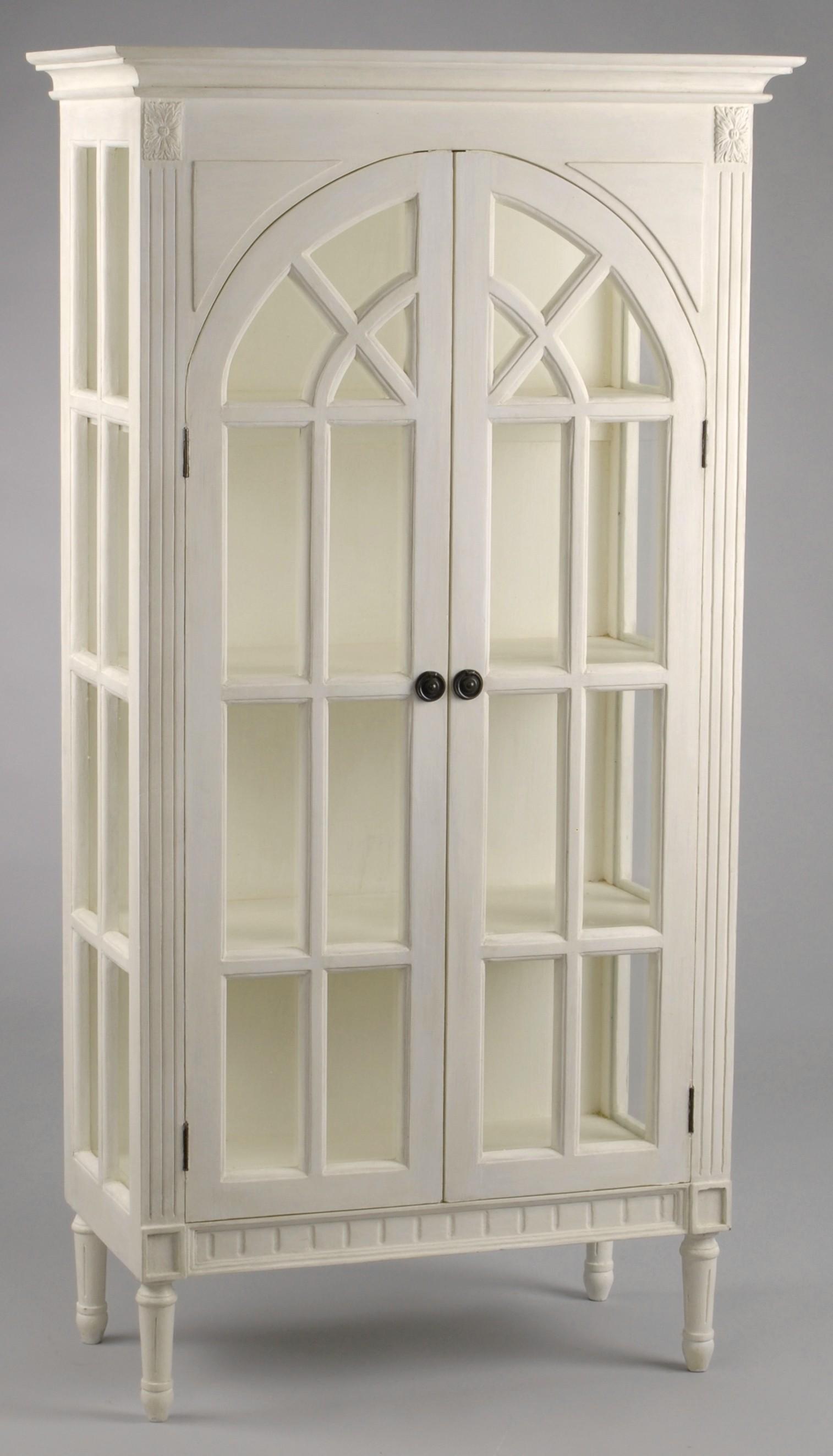 Vaisselier vitrine bois blanc 2 portes PORQUEROLLES L 78 x P ...