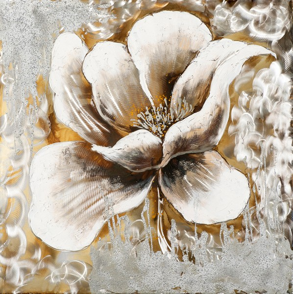 Tableau Fleur 70x70 Argenté Doré Ajout Déléments Métal En Relief