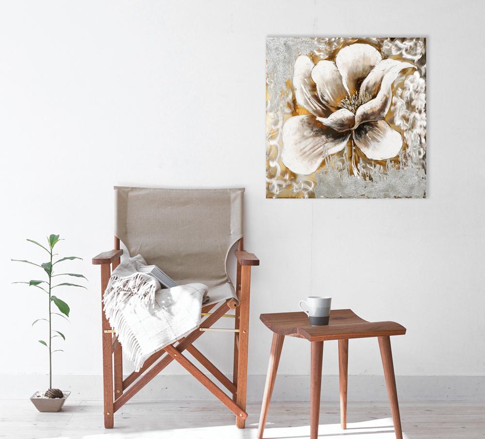 tableau fleur 70x70 argent dor ajout d 39 l ments m tal. Black Bedroom Furniture Sets. Home Design Ideas