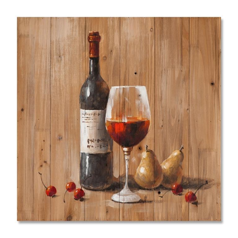 Vin 60x60 Peinture Sur Bois Acrylique Noir Et Rouge Nature Morte