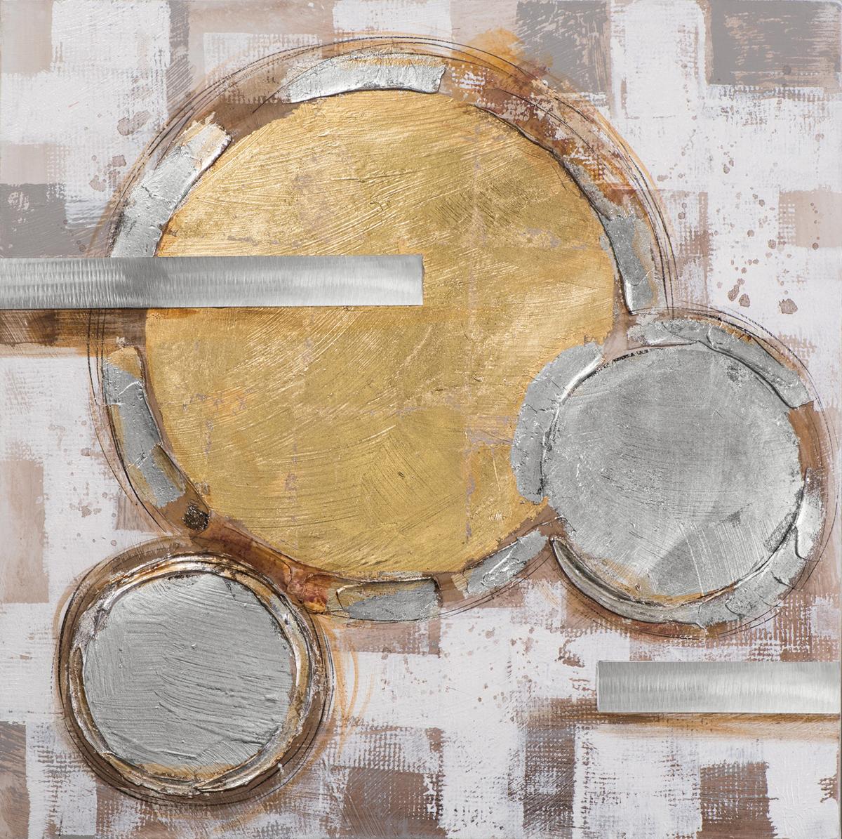Tableau Abstrait 100x100 Argenté Doré Ajout D éléments Métal En Relief Peinture Acrylique Et Feuilles Métal