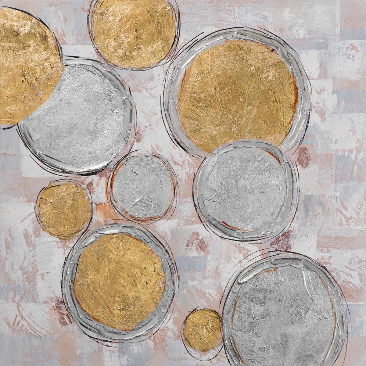 Tableau Abstrait 100x100 Argenté Doré Peinture Acrylique Et Feuilles Métal