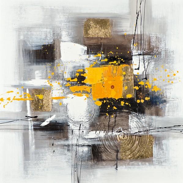 Tableau Abstrait 60x60 Doré. Peinture acrylique